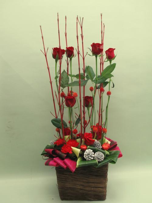 赤バラとサンゴミズキのパラレル...